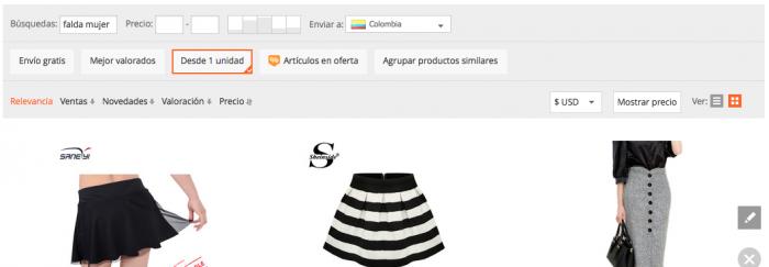 comprar falda en aliexpress