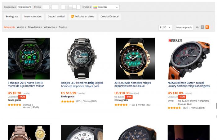 catalogo reloj deportivo en aliexpress colombia