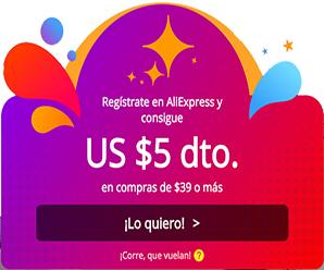 Obtén un cupón con $5 USD al registrarte en AliExpress desde Colombia